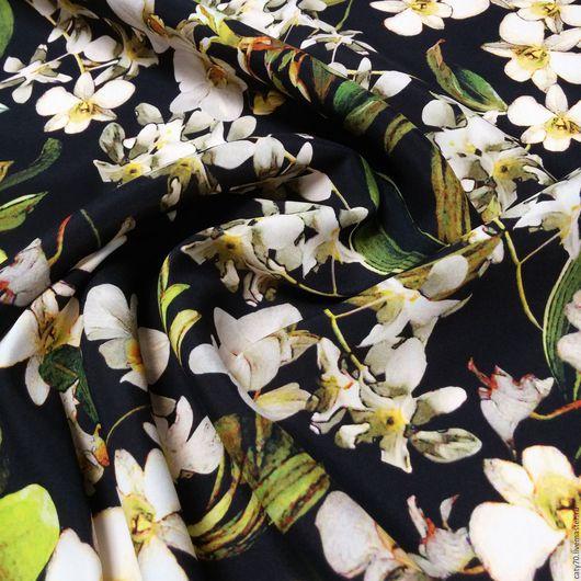 """Шитье ручной работы. Ярмарка Мастеров - ручная работа. Купить Шелк креповый """"Орхидеи"""", D&G. Handmade. Ткани Италии, шёлк"""