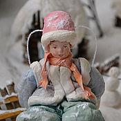 Подарки к праздникам ручной работы. Ярмарка Мастеров - ручная работа Ватная елочная игрушка МАЛЬЧИК  НА САНКАХ. Handmade.