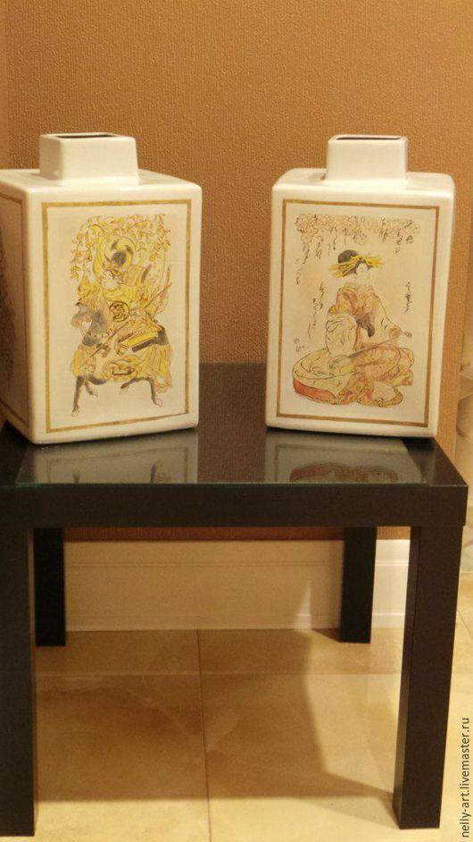 Вазы ручной работы. Ярмарка Мастеров - ручная работа. Купить Ваза -японская девушка. ручная роспись, керамика. Handmade. Вазы
