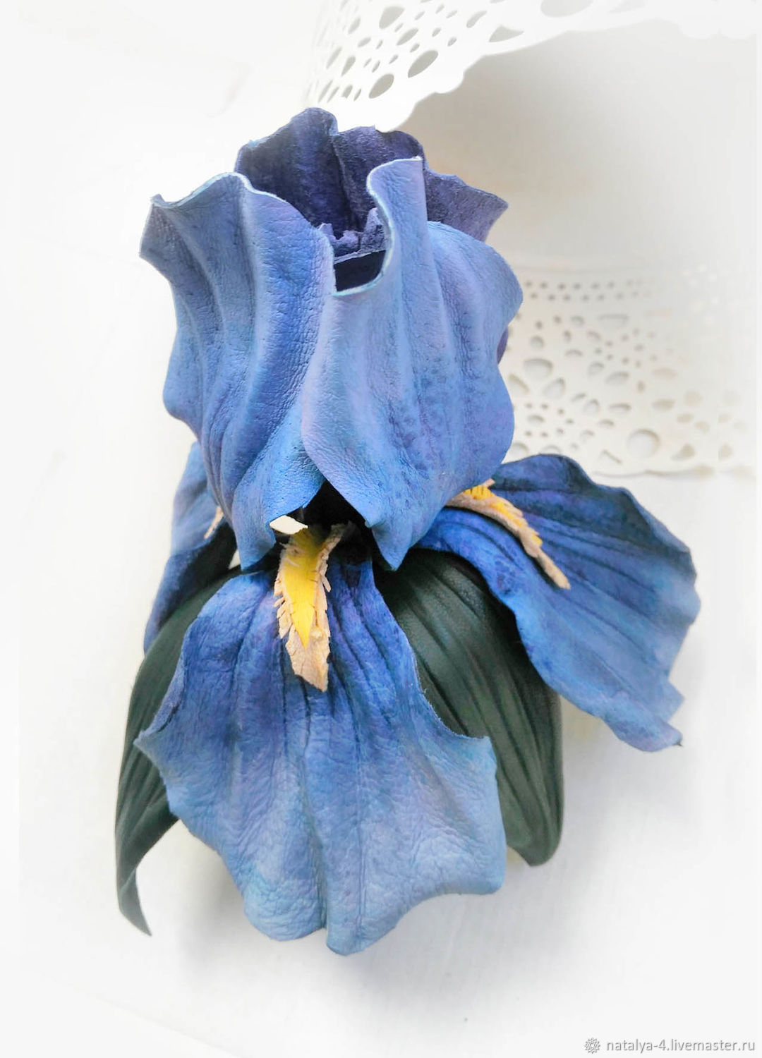 Brooch made of genuine leather iris blue, Brooches, Rostov-on-Don,  Фото №1
