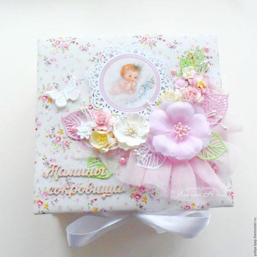 Подарки для новорожденных, ручной работы. Ярмарка Мастеров - ручная работа. Купить Мамины сокровища тканевая шкатулка Нежность для девочки. Handmade.
