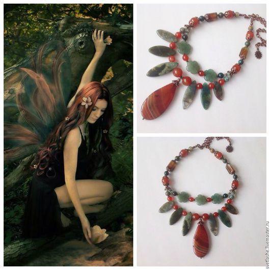 Колье бусы ожерелье из Агата сердолика авантюрина хризопраза купить в подарок девушке женщине любимой подруге украшение на шею