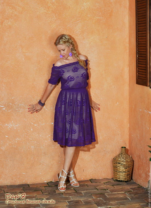 """Пляжные платья ручной работы. Ярмарка Мастеров - ручная работа. Купить """"Маленькая Роза"""" вязаное кружевное платье. Handmade. Платье"""
