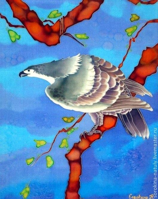 Батик Картина Панно`Зоркий орёл`шёлк 100%. Ручная роспись. Ярмарка мастеров. Подойдёт в кабинет серьёзному представительному мужчине. Сорокина Наталья для Вас с любовью !!!