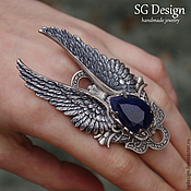 Украшения handmade. Livemaster - original item Ring, silver angel Sapphire for Alexandra. Handmade.