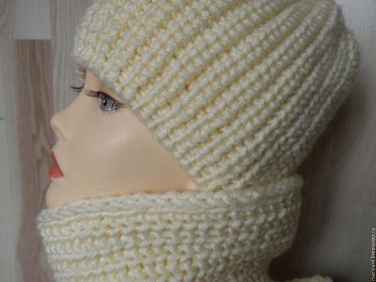 """Шапки ручной работы. Ярмарка Мастеров - ручная работа. Купить Шапка и шарф-снуд  """"Объёмный цвета """"экрю"""""""". Handmade."""