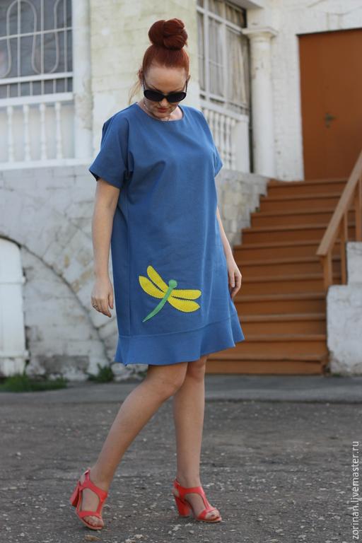 Платья ручной работы. Ярмарка Мастеров - ручная работа. Купить Джинсовое платье НАСТРОЕНИЕ. Handmade. Одежда для беременных