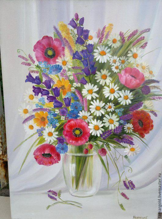 """Картины цветов ручной работы. Ярмарка Мастеров - ручная работа. Купить """"Полевые цветы""""50/70 Холст Масло. Handmade. Комбинированный, холст"""