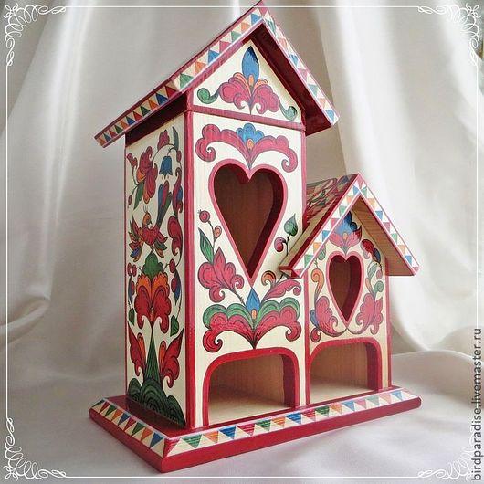 Чайный домик деревянный расписной двойной. Кухонная утварь. Кухонный интерьер.