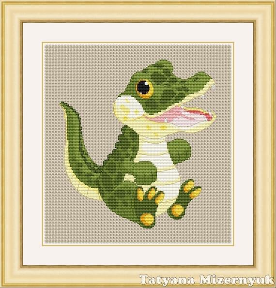 """Вышивка ручной работы. Ярмарка Мастеров - ручная работа. Купить Схема для вышивки крестиком """"Крокодил мальчик"""". Handmade. Вышивка крестом"""