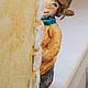 Новый год 2017 ручной работы. Ярмарка Мастеров - ручная работа. Купить Мальчик с пломбиром. Handmade. Желтый, мальчик, винтаж