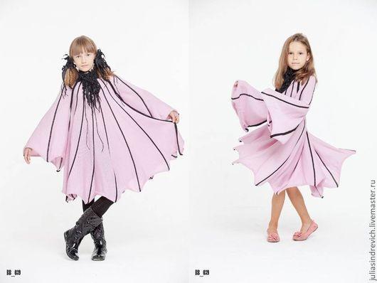 BB_039 Платье детское, цвет св.астра с черным, 50% мериносовая шерсть, 50% акрил, отделка вискозная ЮЛА.