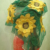 Аксессуары handmade. Livemaster - original item Stole made of silk Sunflowers. Handmade.