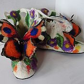 """Обувь ручной работы. Ярмарка Мастеров - ручная работа Валенки. Валенки для дома. Тапочки валяные """"Бабочки"""". Handmade."""