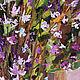 Цветы маслом Сиреневый букет Цветы в вазе Шишки шишка Картина с цветами