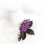 Украшения handmade. Livemaster - original item Lilac leather brooch. Handmade.