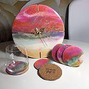 Часы классические ручной работы. Ярмарка Мастеров - ручная работа Набор «Розовое море» Часы + 6 подстаканников. Handmade.