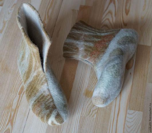 """Обувь ручной работы. Ярмарка Мастеров - ручная работа. Купить Валеночки для дома """"Эко-стиль"""". Handmade. Золотой, валяные тапочки"""