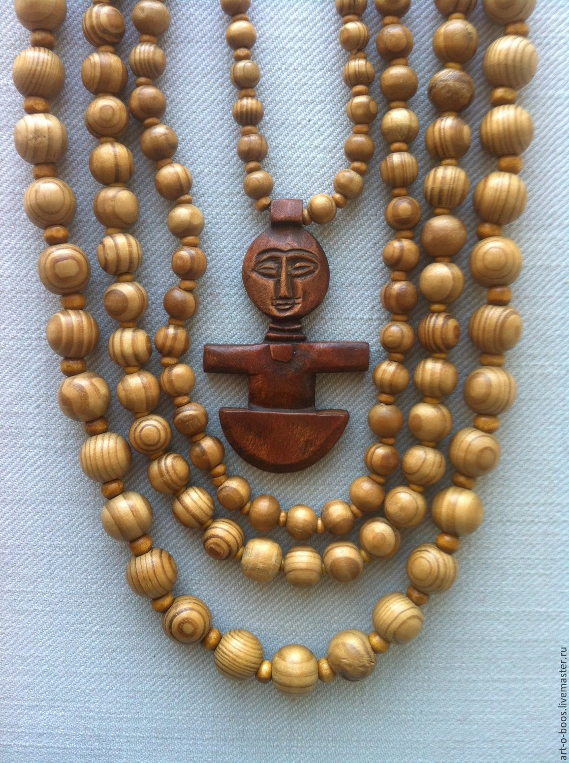 """Wooden necklace """"in the yellow hot africa"""", Necklace, Moscow,  Фото №1"""