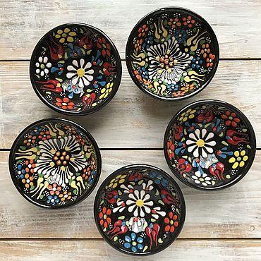 Посуда ручной работы. Ярмарка Мастеров - ручная работа Набор керамических соусниц (5 шт) (чёрные). Handmade.