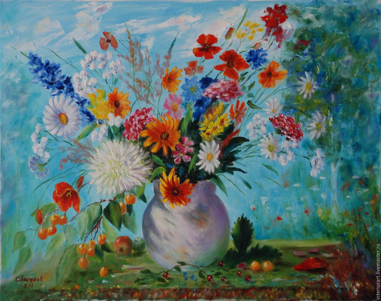 """Картина маслом """"Немного лета"""" натюрморт с полевыми цветами, Картины, Великий Новгород,  Фото №1"""