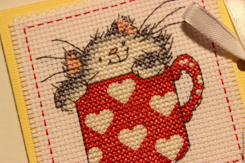Вышивка крестом кошки в чашках 73