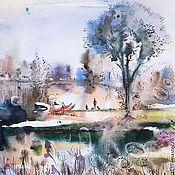 Картины и панно handmade. Livemaster - original item Summer Lake. Watercolor painting. Handmade.