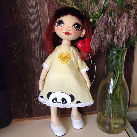 Коллекционные куклы ручной работы. Ярмарка Мастеров - ручная работа. Купить Кукла текстильная. Handmade. Желтый, кукла текстильная