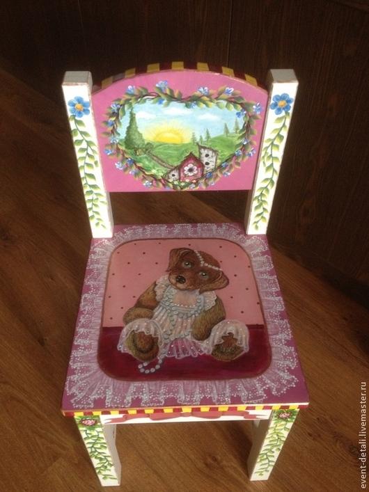 Мебель ручной работы. Ярмарка Мастеров - ручная работа. Купить Стульчик. Handmade. Детский стульчик, Мебель, разноцветный, краски акриловые