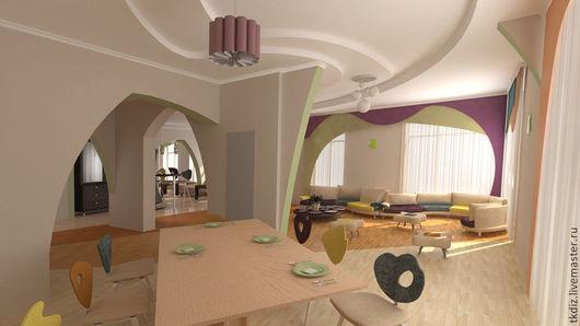 дизайн единого пространства гостинно-столовой зоны