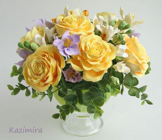 Букеты ручной работы. Ярмарка Мастеров - ручная работа. Купить Желтые розы. Handmade. Керамическая флористика, желтые розы, для дома