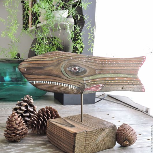 Статуэтки ручной работы. Ярмарка Мастеров - ручная работа. Купить Деревянная интерьерная рыба - Зубоскал. Handmade. Комбинированный, рыбаку