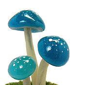 Куклы и игрушки ручной работы. Ярмарка Мастеров - ручная работа Грибочки кукольная миниатюра синие грибы поганки. Handmade.