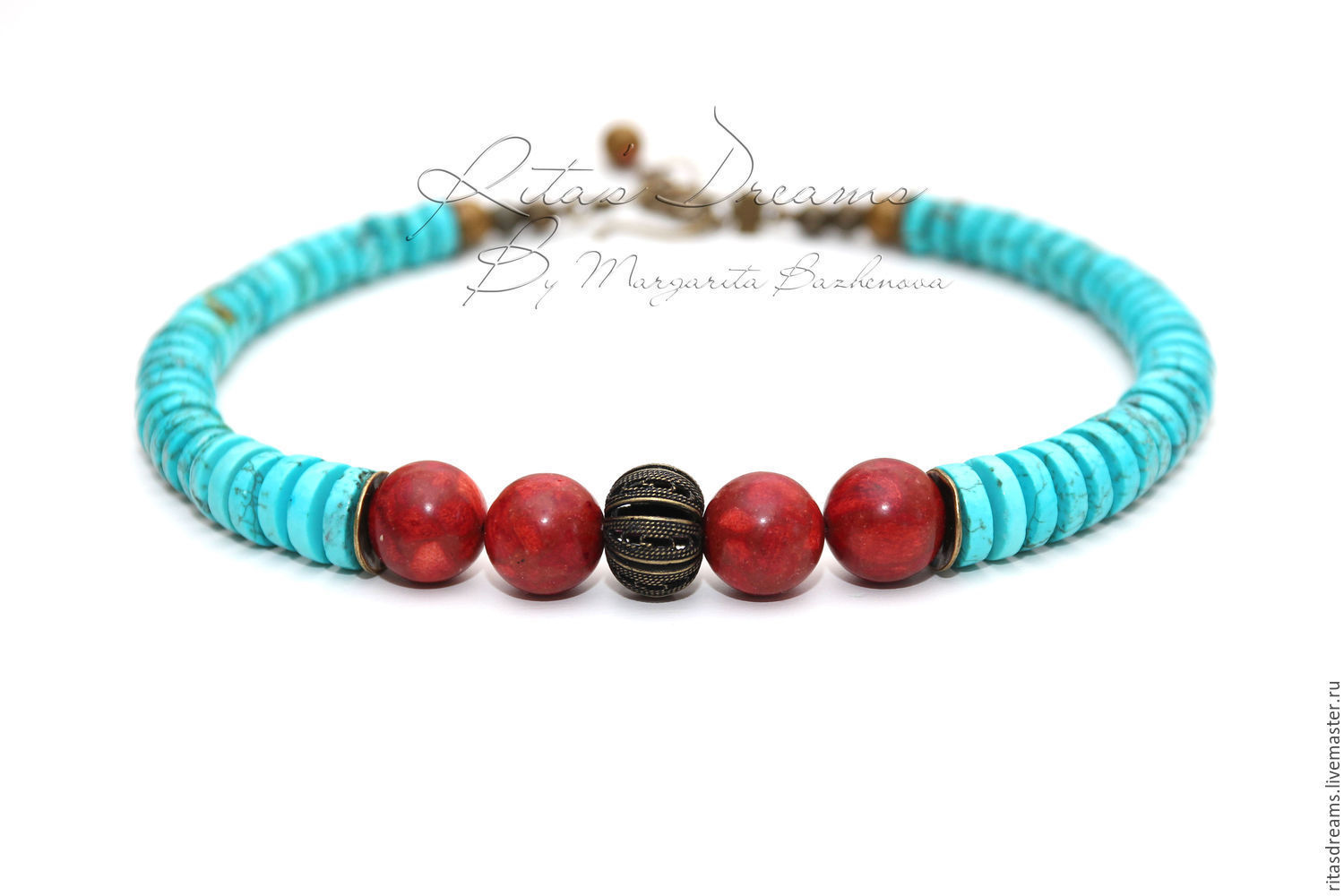 Choker of large red coral and stabilized turquoise - bright and showy decoration, reminiscent of sea, sun and relaxation!..