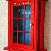 """Для дома и интерьера ручной работы. Ярмарка Мастеров - ручная работа Ключница """"Туманный Альбион"""" в виде английской телефонной будки. Handmade."""