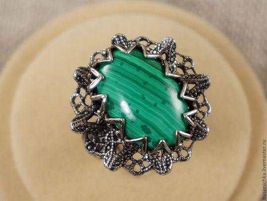 Кольца ручной работы. Ярмарка Мастеров - ручная работа. Купить Кольцо Серебристое кружево (малахит 13х18мм). Handmade. Кольцо