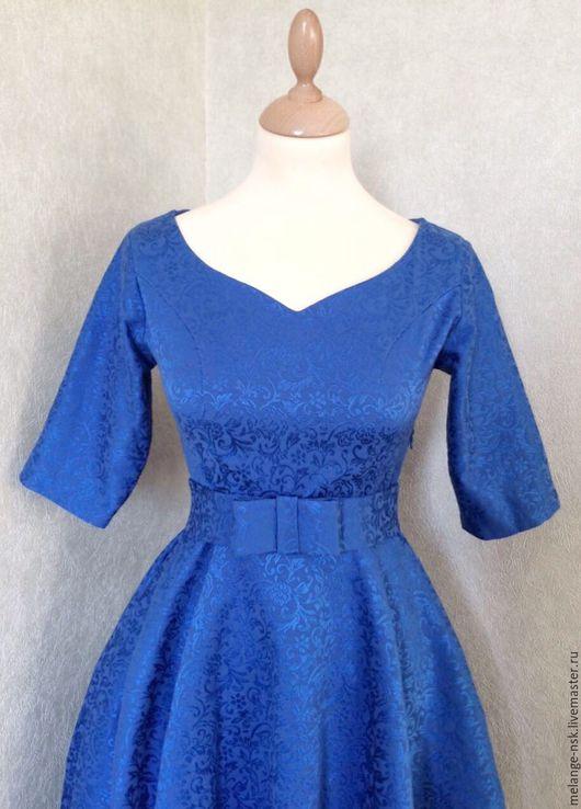 Платья ручной работы. Ярмарка Мастеров - ручная работа. Купить Женственное жаккардовое платье. Handmade. Синий, платье на выход