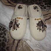 """Обувь ручной работы. Ярмарка Мастеров - ручная работа тапочки валяные """" Белый чай с ирисками"""". Handmade."""