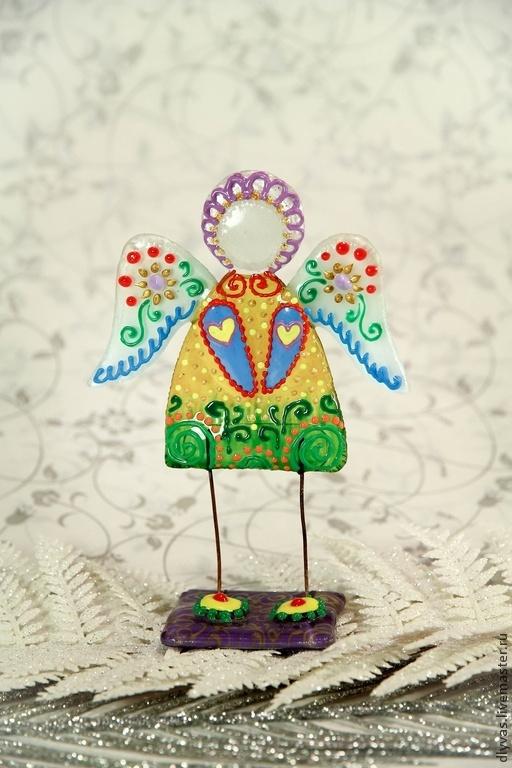 """Статуэтки ручной работы. Ярмарка Мастеров - ручная работа. Купить """" Ангелочек """", фьюзинг, роспись по стеклу. Handmade. Витраж"""
