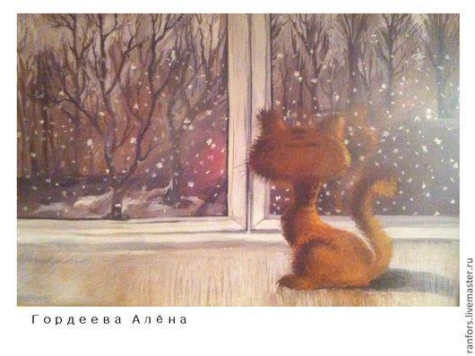 Животные ручной работы. Ярмарка Мастеров - ручная работа. Купить март за окном. Handmade. Кот, котенок, окно, иллюстрация