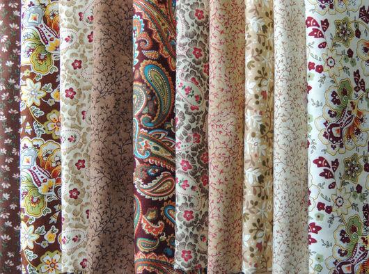 Шитье ручной работы. Ярмарка Мастеров - ручная работа. Купить Набор тканей. Handmade. Коричневый, мелкий цветочек, ткани для пэчворка