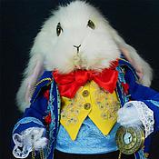 Куклы и игрушки ручной работы. Ярмарка Мастеров - ручная работа Белый кролик в синем.. Handmade.
