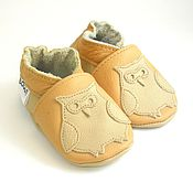 Работы для детей, handmade. Livemaster - original item Leather Baby shoes with owl ,Walker baby shoes ,Ebooba. Handmade.