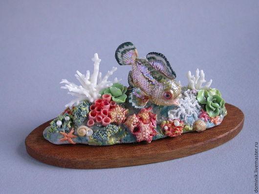 """Статуэтки ручной работы. Ярмарка Мастеров - ручная работа. Купить Композиция """"Коралловый риф"""". Handmade. Рыбка, коралловый риф, краски"""