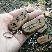handmade. Livemaster - original item Wooden USB flash drive with engraving, key chain with ring, a gift from the tree. Handmade.