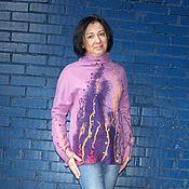 """Одежда ручной работы. Ярмарка Мастеров - ручная работа Валяный свитер """"Лиловый"""". Handmade."""