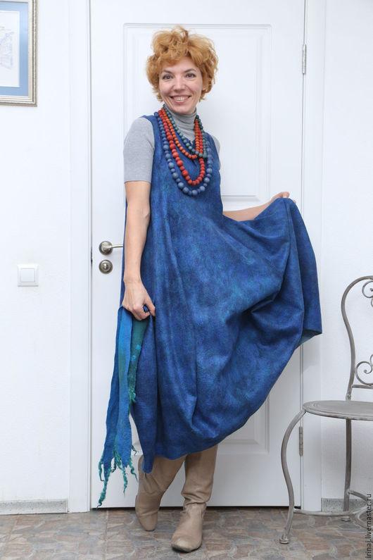 """Платья ручной работы. Ярмарка Мастеров - ручная работа. Купить валяное платье-сарафан  """"Lagenlook blue"""". Handmade. Платье, сарафан"""