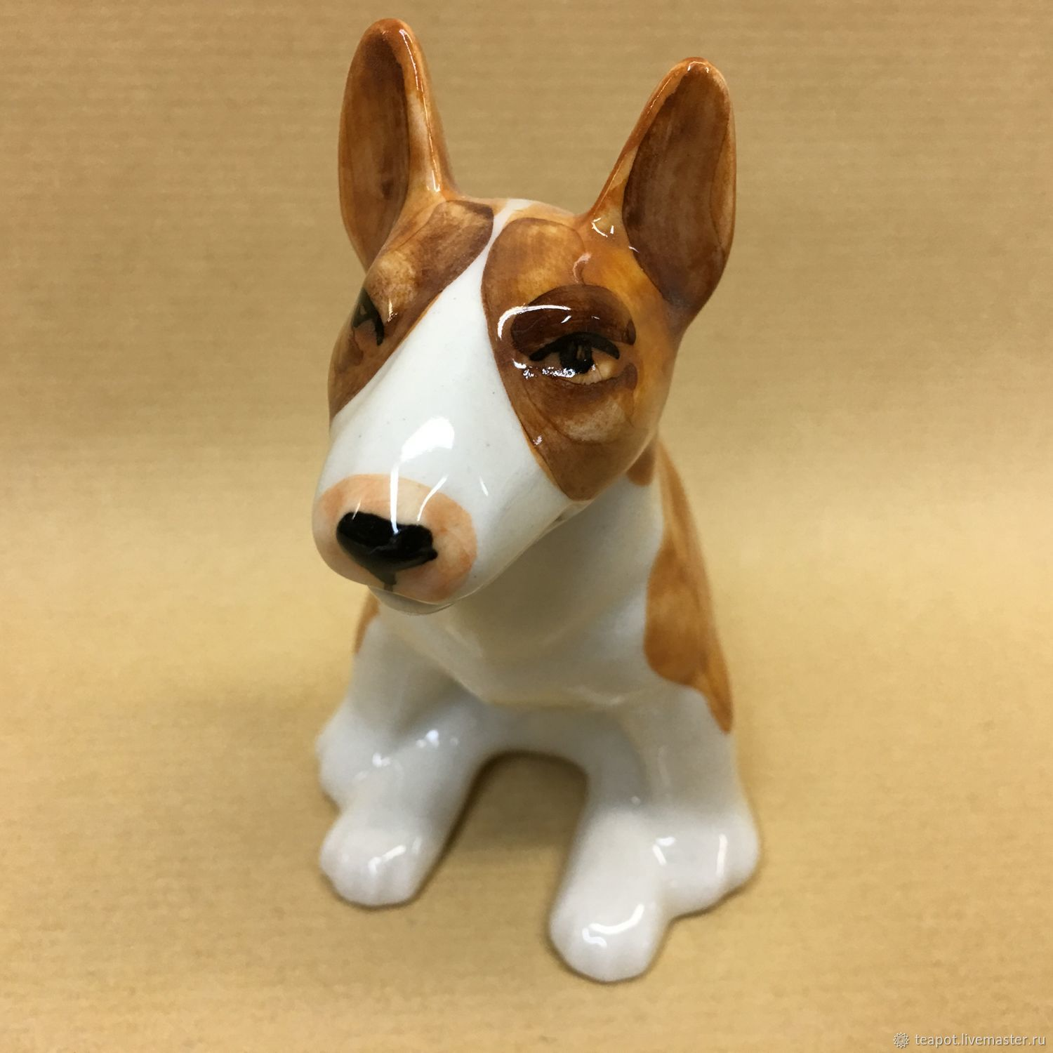 The bull terrier sits a porcelain figurine, Figurine, Moscow,  Фото №1