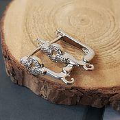 Материалы для творчества handmade. Livemaster - original item Earrings with cubic Zirconia 15,5 mm platinum (4515). Handmade.
