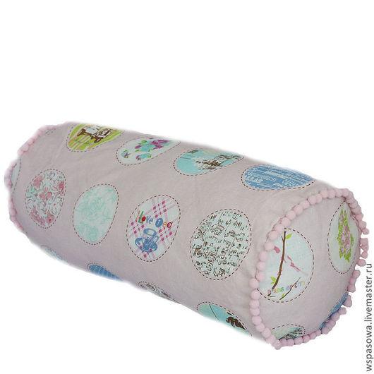 Текстиль, ковры ручной работы. Ярмарка Мастеров - ручная работа. Купить Подушка бочонок с помпонами Розовое настроение. Handmade. валик